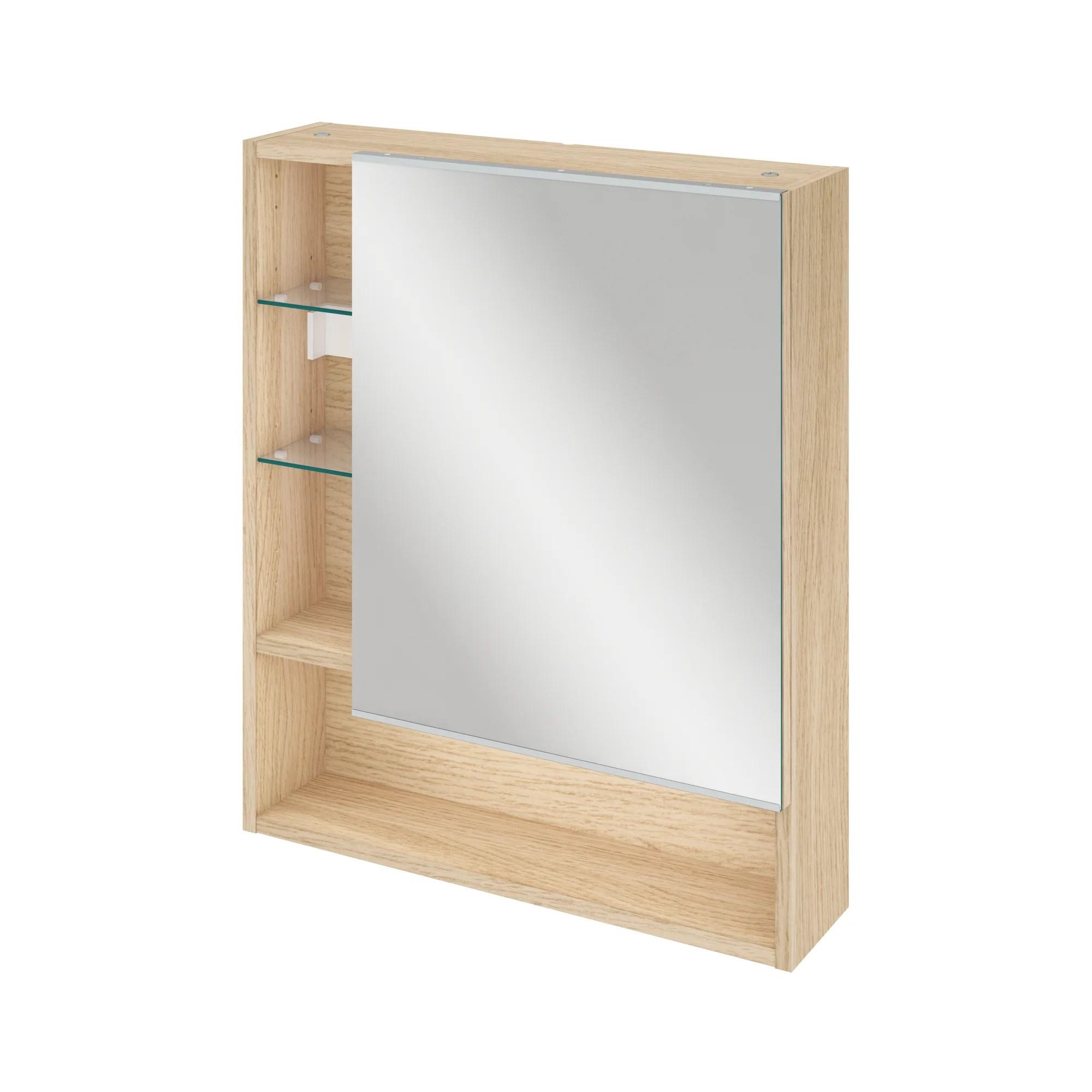 armoire de toilette l 60 cm chene naturel sensea easy