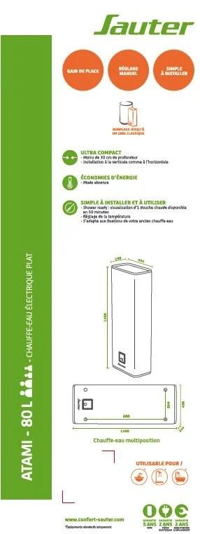Chauffe Eau Electrique Plat Horizontal Ou Vertical Atami Sauter 80 L Leroy Merlin