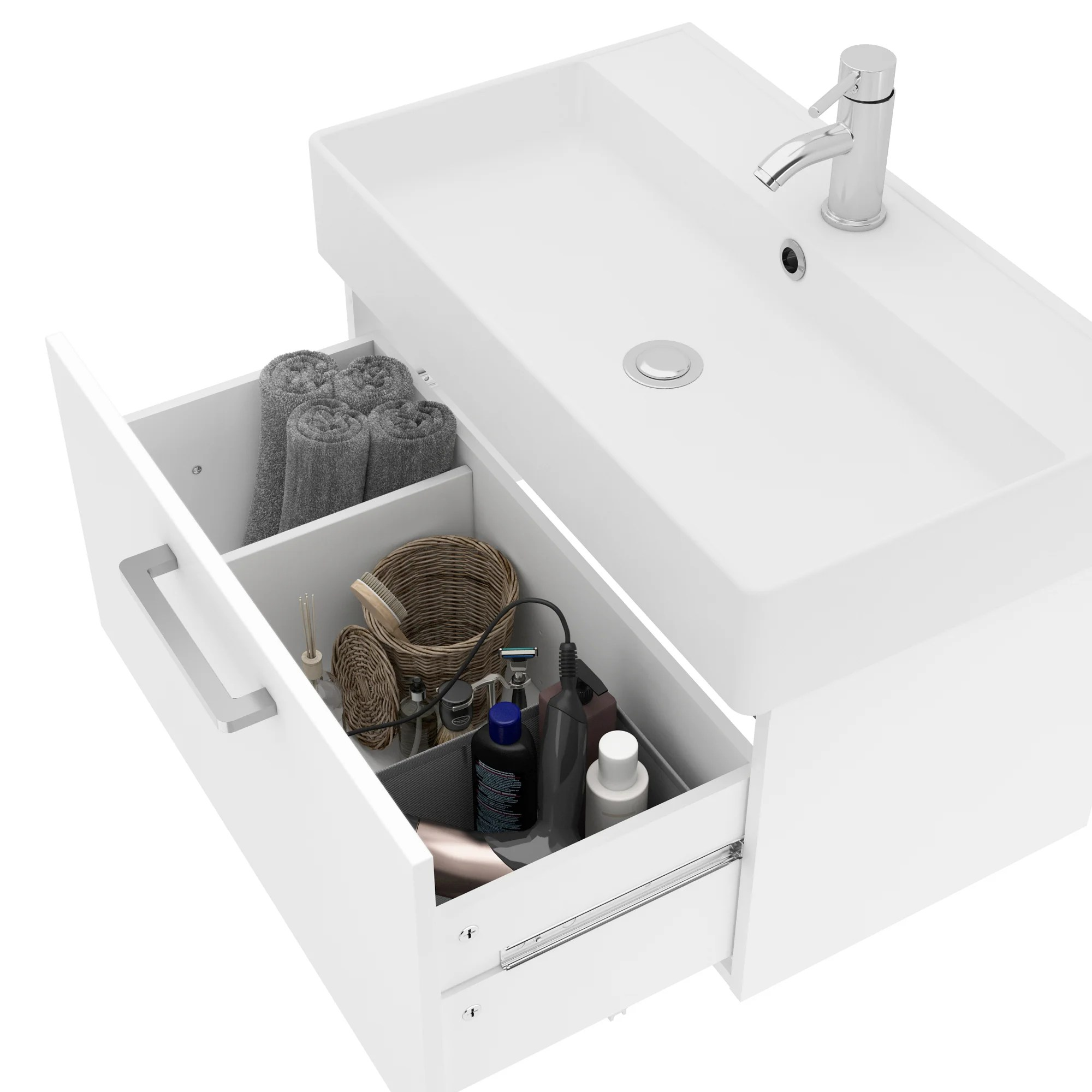 Meuble Simple Vasque Encastree L 70 X H 37 X P 40 Cm Blanc Easy Leroy Merlin