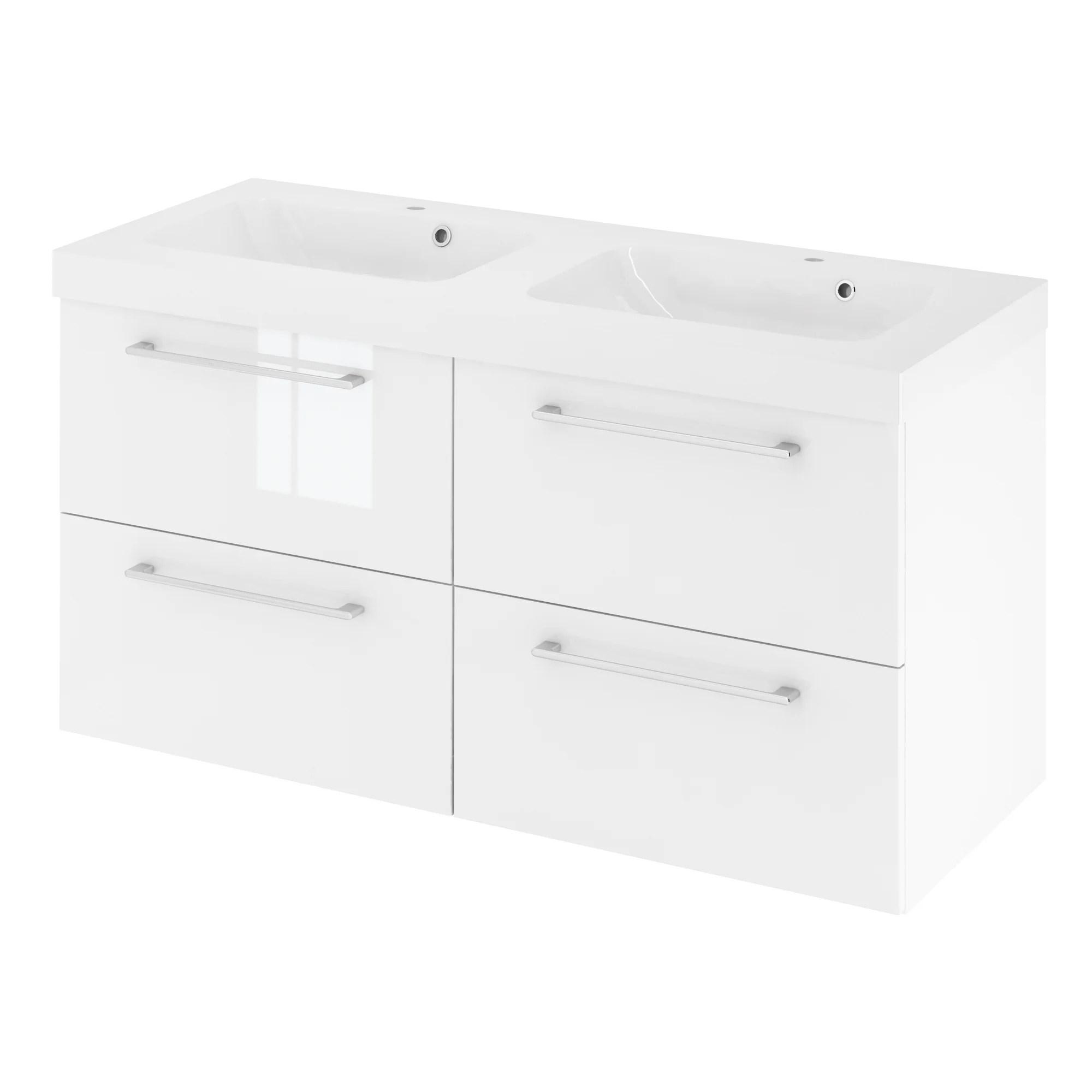 meuble simple vasque l 120 x h 58 x p 46 cm blanc remix
