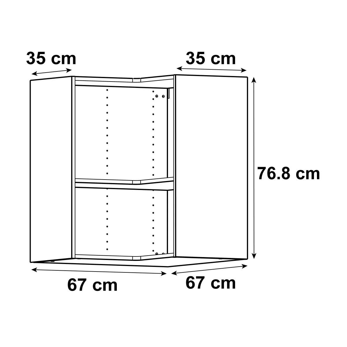 caisson de cuisine meuble haut d angle delinia id blanc h 76 8 x l 67 x p 35 cm