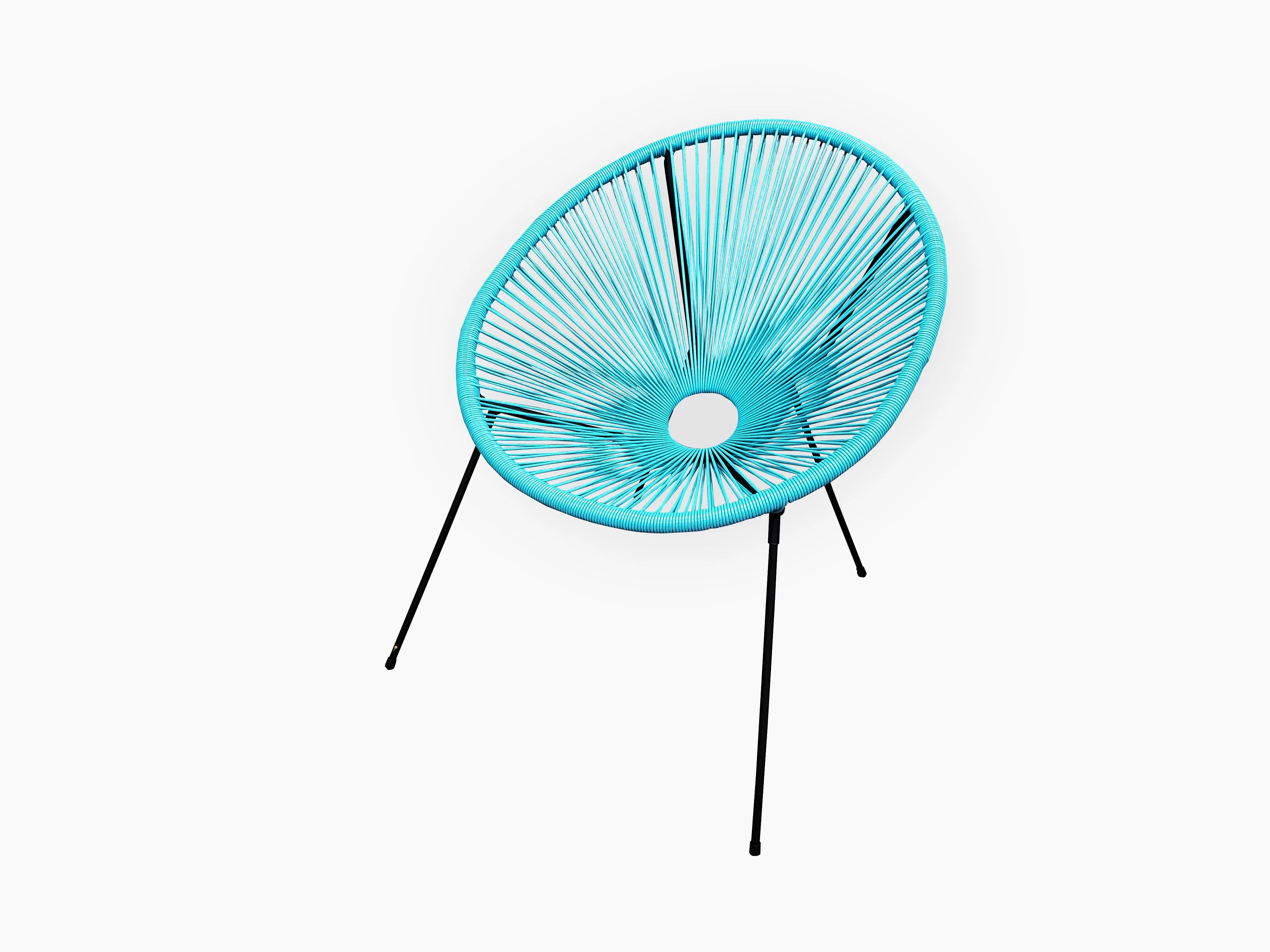 chaise de jardin en acier acapulco bleu turquoise