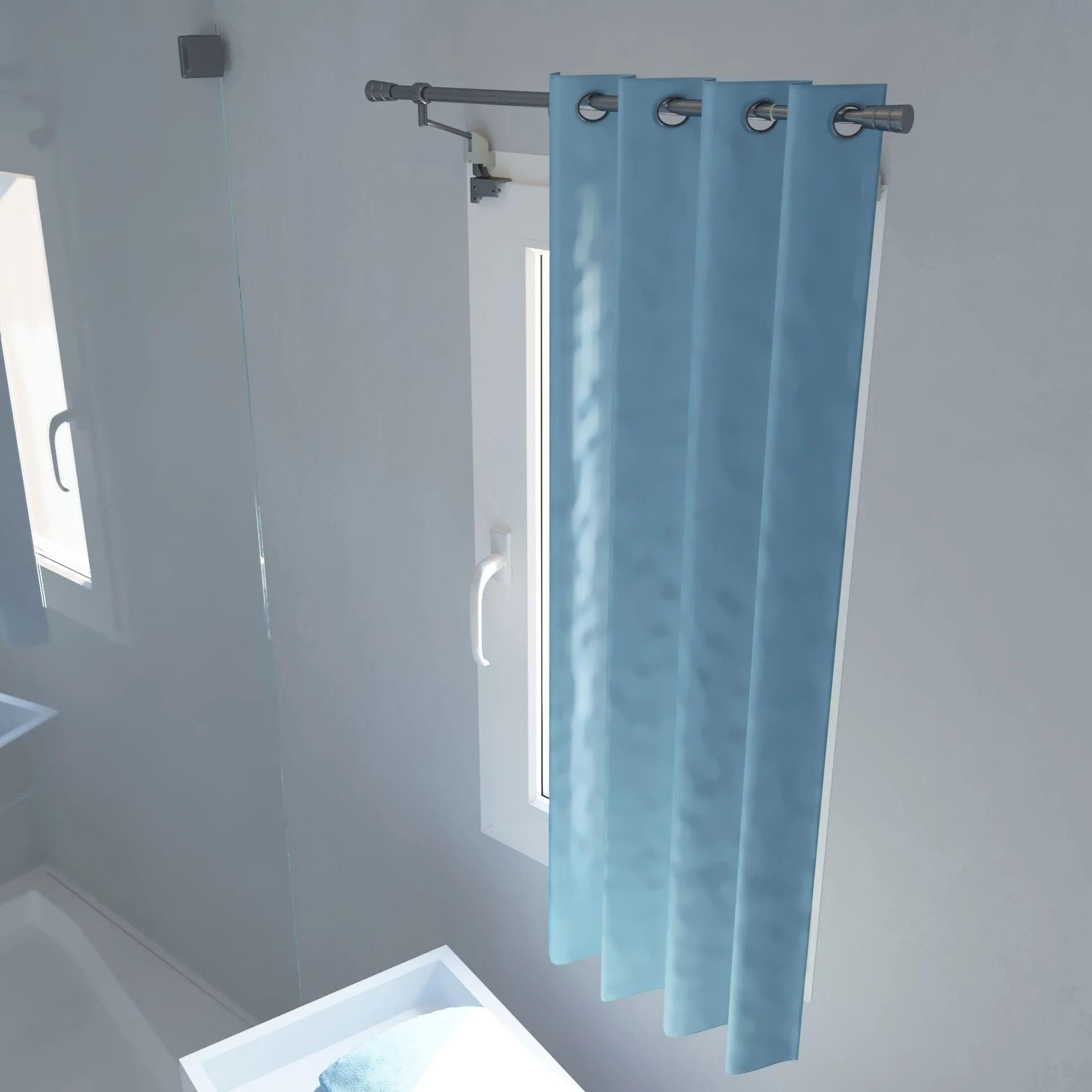 kit de tringle a rideau ext sans percage pour fenetre d20 mm acier satin 50 90cm