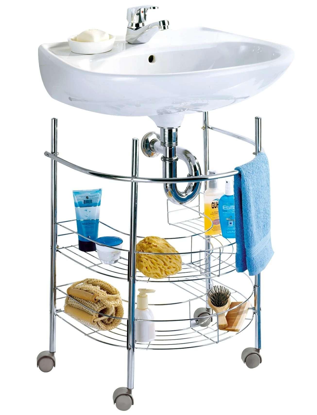 Meuble De Salle De Bains Simple Vasque L 53 X H 63 5 X P 41 Cm Chrome A Roulet Leroy Merlin
