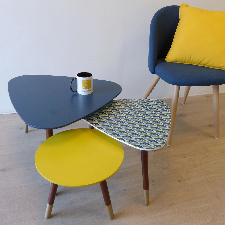 set de 3 tables gigognes artdeco bleu