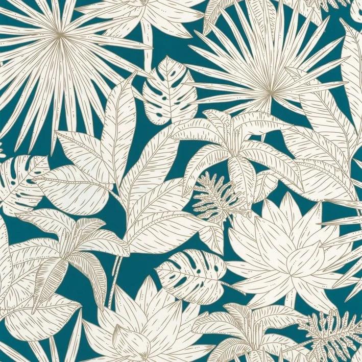 papier peint intisse l odyssee hawai bleu or