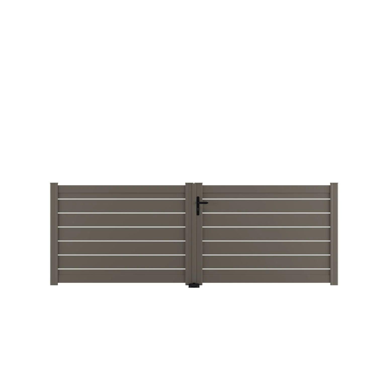 Portail Battant Aluminium Bono Gris Quartz Naterial L 349 X H 124 5 Cm Leroy Merlin