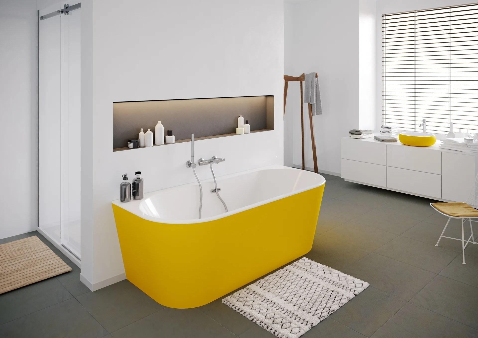 baignoire semi ilot l 75 x l 160 cm jaune ilova balneo