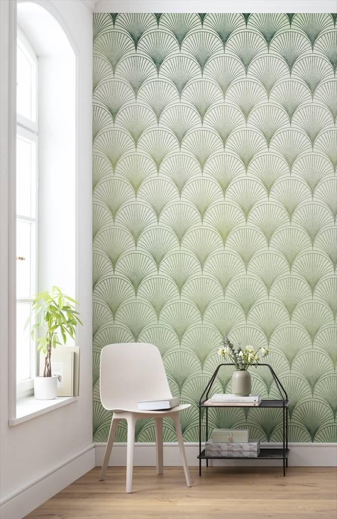 papier peint panoramique ecailles vert blanc intisse komar l 200 x h 280 cm