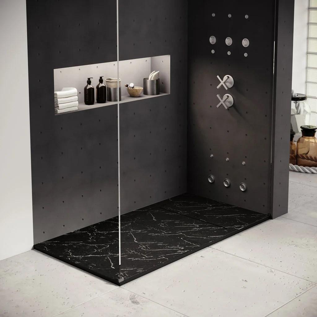 receveur de douche extraplat gres marbre noir l 180 x l 90 cm kai basins