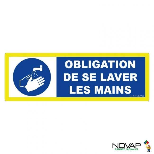 Panneau Rigide Ht Visible 450x150mm Obligation De Se Laver Les Mains Novap Pvc Leroy Merlin