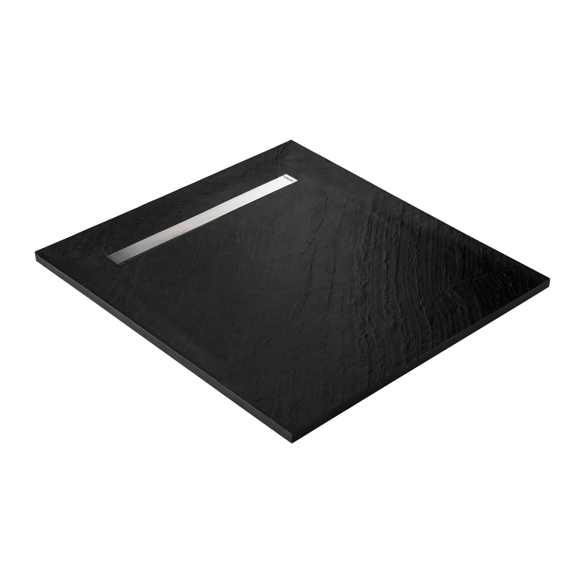 receveur douche extra plat pierre naturelle caniveau inox noir 90 x 90