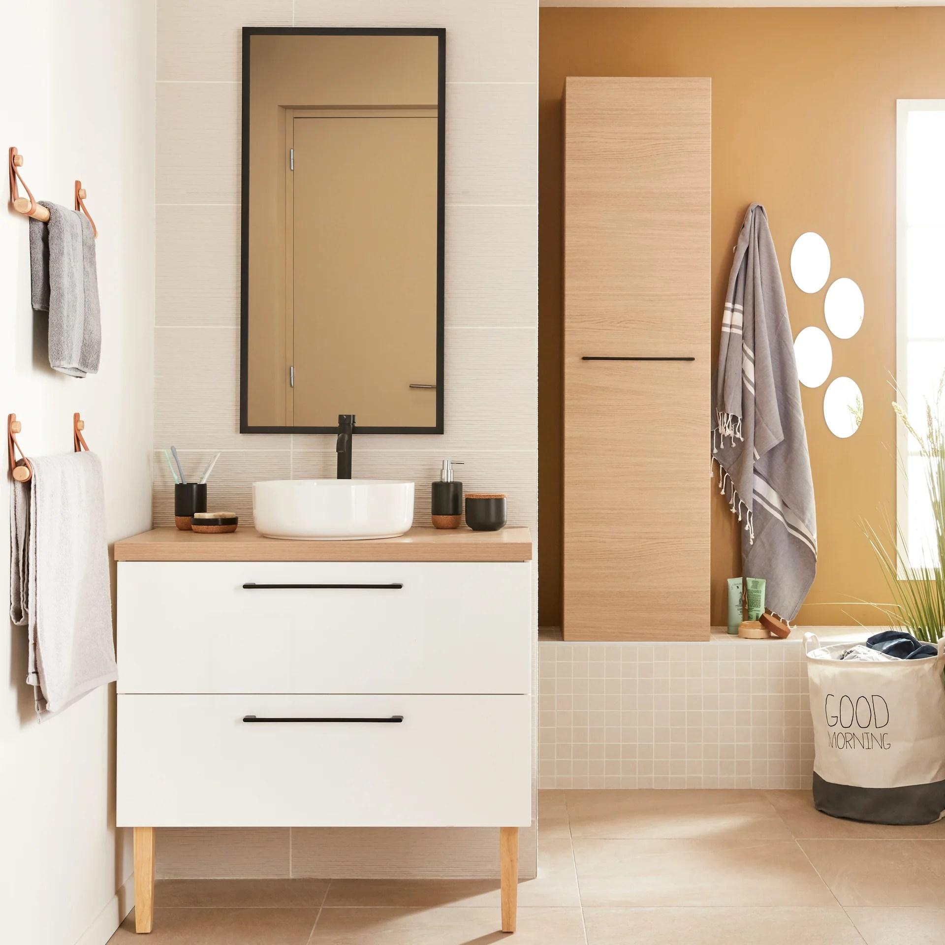 Meuble De Salle De Bains Simple Vasque L 90 X H 58 X P 48 Cm Blanc Remix Leroy Merlin