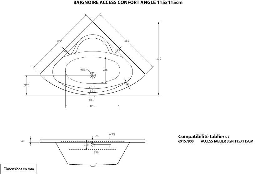 baignoire d angle l 115x l 115 cm blanc sensea access confort