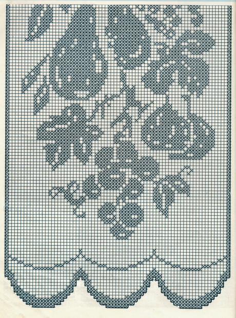 Schemi per il filet Tendine con grappoli di uva pere e