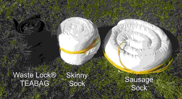 Waste Lock TEABAG, Skinny Sock and Sausage Sock side by side