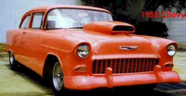 1955 Chevy 2 Door Post Exterior Is Coral Or Salmon Color