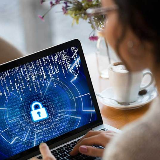 woman looking at secure computer