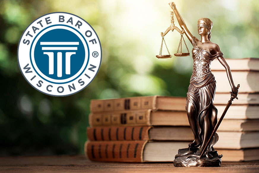 justice scale with WI state bar logo