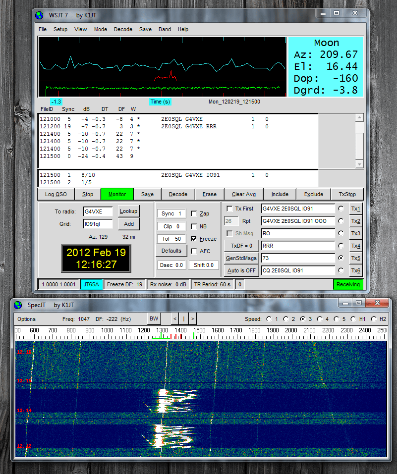 JT65A QSO with Tim (G4VXE)