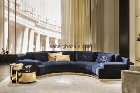 gold sectional sofa modern leather fendi casa 2015 collection | luxury furniture - paperblog