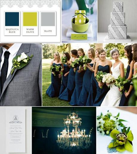 Wedding Color Palette Gray Green and Navy  Paperblog