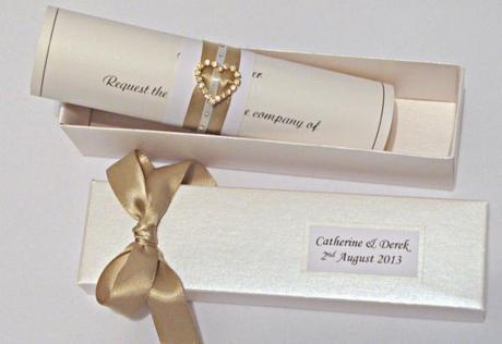 Wedding Invitation Scroll Ivory Chagne Elegance