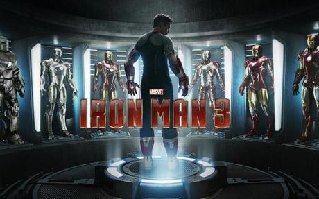 Iron man 3 poster, tony stark cant sleep so he build 52 useless armors.
