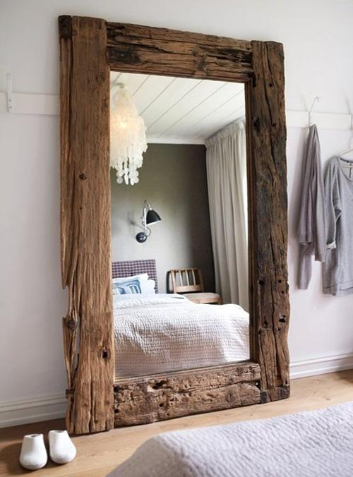 Modern Cabin Decor Bedroom Home Decor Mirror Wooden Bed Rustic Home Design Interior Oversized Repurposed