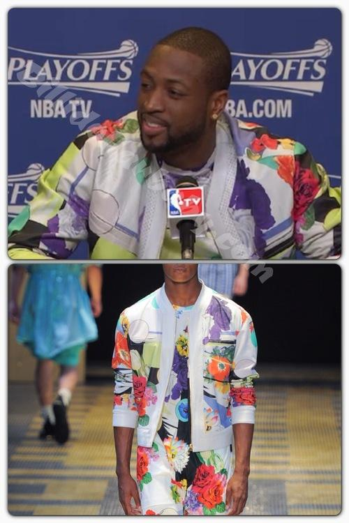 Dwayne Wade wears Versace During Miami Heat Post Game Press...