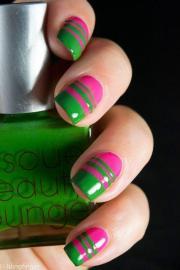neon pink and green nail art