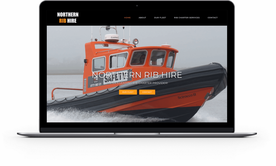 laptop with Northern Rib Hire website image