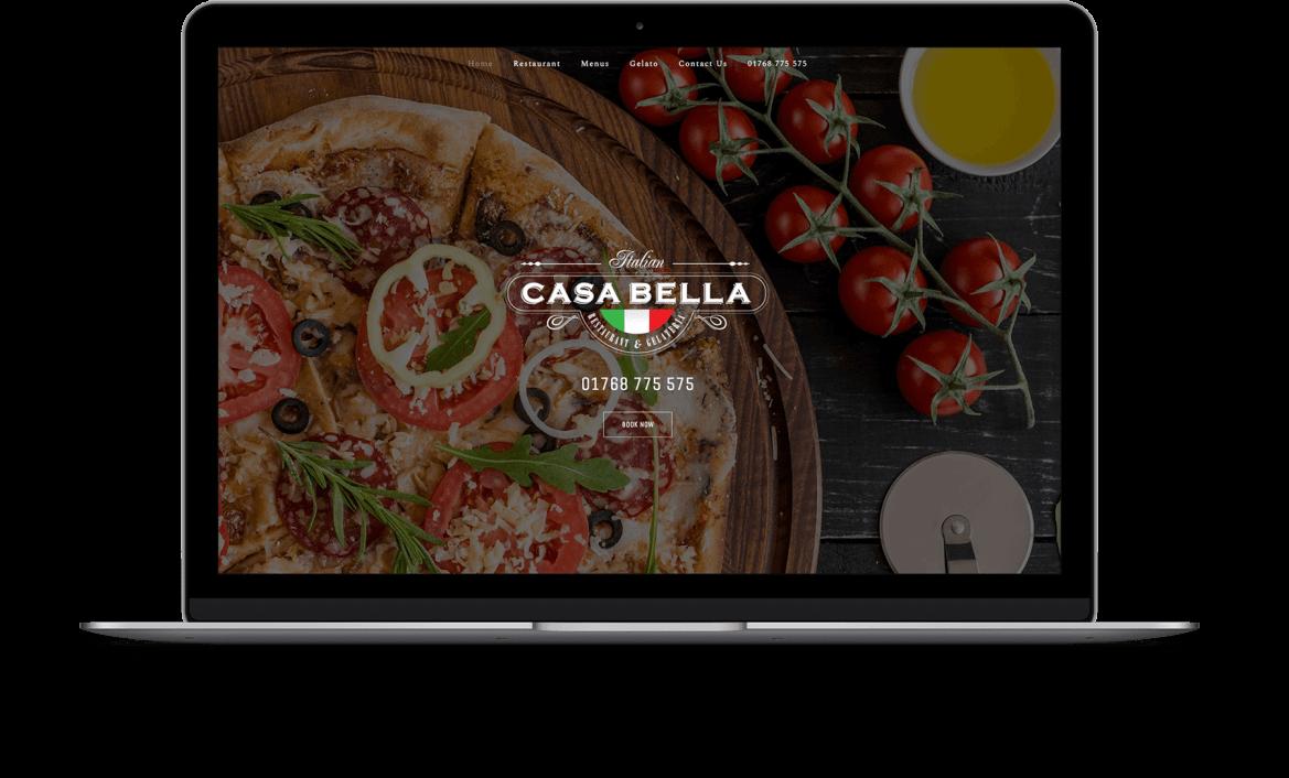Casa Bella Website showing on Laptop