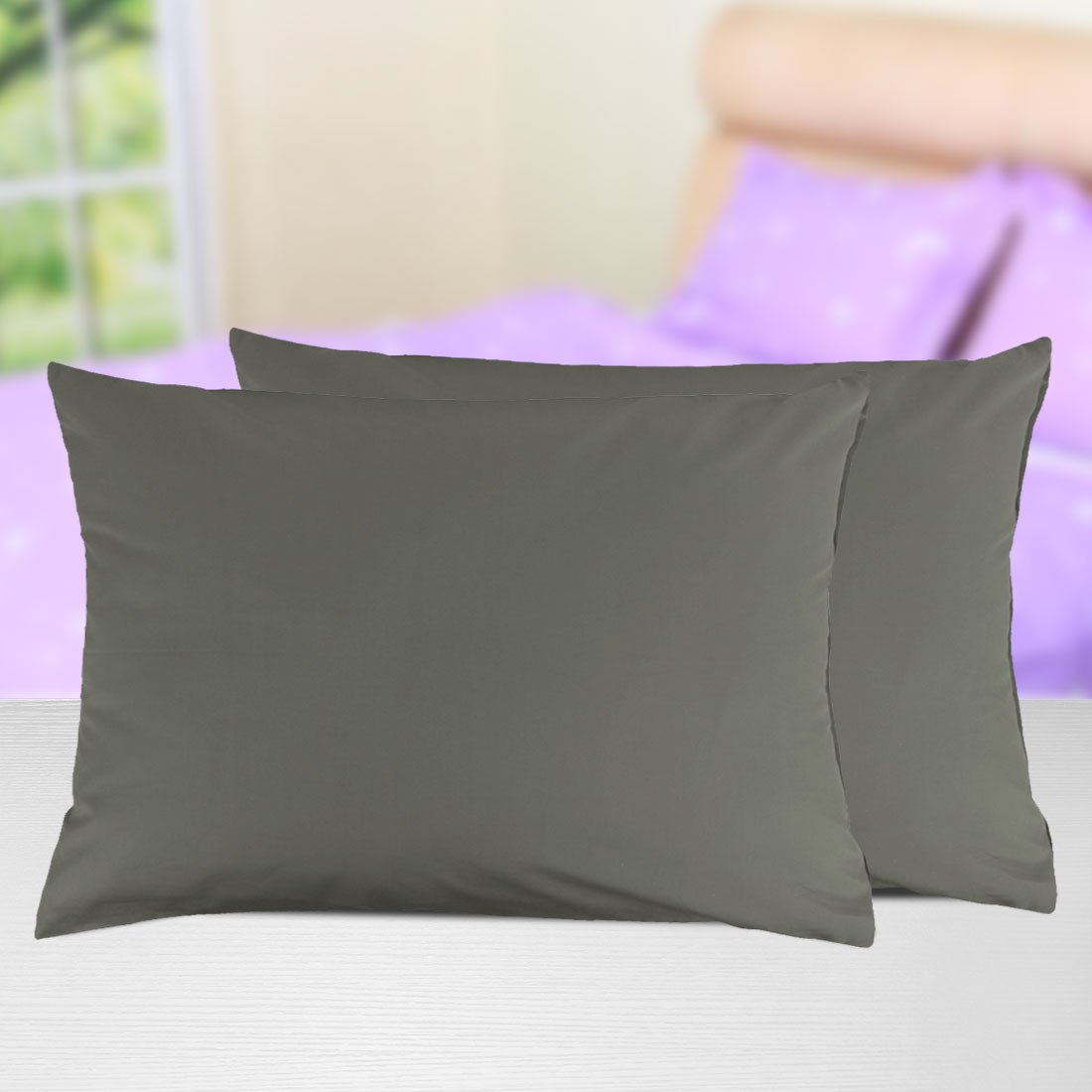2PCS Zipper Solid Pillow Cases All Size  Color Egyptian