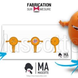 Fabrication Mascotte Sur Mesure orange OASIS (mascotte fruit sur mesure).