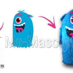 Fabrication Mascotte Sur Mesure monstre bleu MONSTROFUN (mascotte animal sur mesure).
