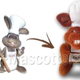 Fabrication Peluche Sur Mesure lapin MUSÉE CHOCOLAT (peluche animal sur mesure).