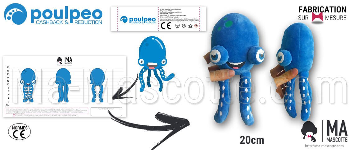 Custom made plush manufacturer for websites. Octopus or octopus plush for the Poulpeo customer. Manufacturer of custom plush goodies.
