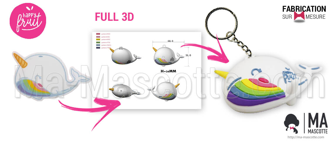 3D PVC keychain in the shape of a narwhal for the happy fruit brand. Custom manufacture of 3D plastic figurine and keychain.