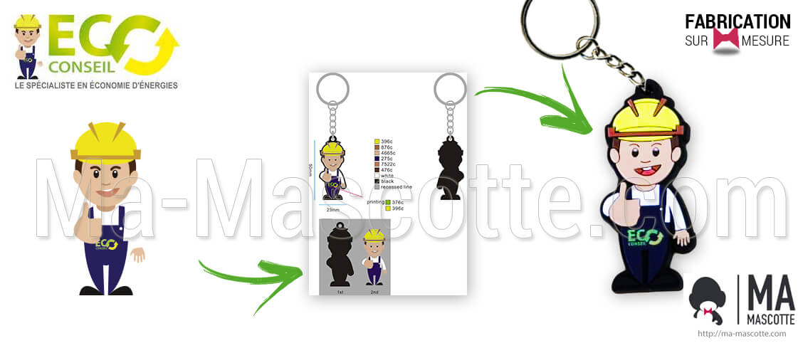 Keyring made to measure in the shape of a character for the ecoconseil client. Manufacture of keychains made of flexible plastic for goodies.