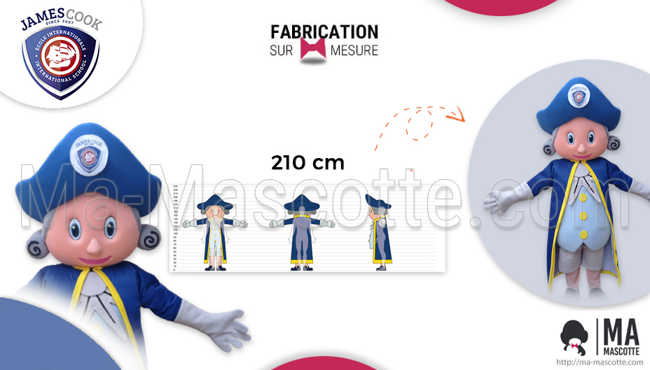 Fabrication Mascotte Sur Mesure d'homme James Cook (mascotte objet sur mesure).