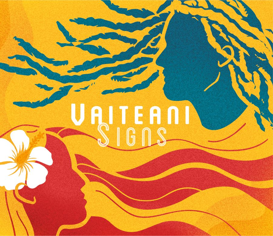 """pochette tout en couleur de l'album """"Signs"""" du duo Vaiteani"""