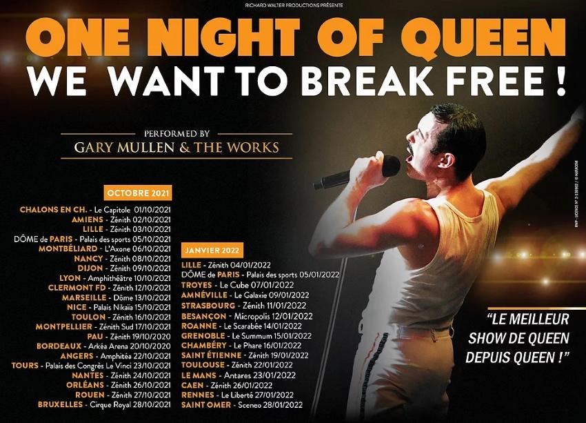 date des différents concerts de One Night of Queen 2021 et 2022 en France