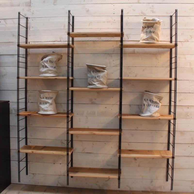 mobilier industriel etagere metal et bois