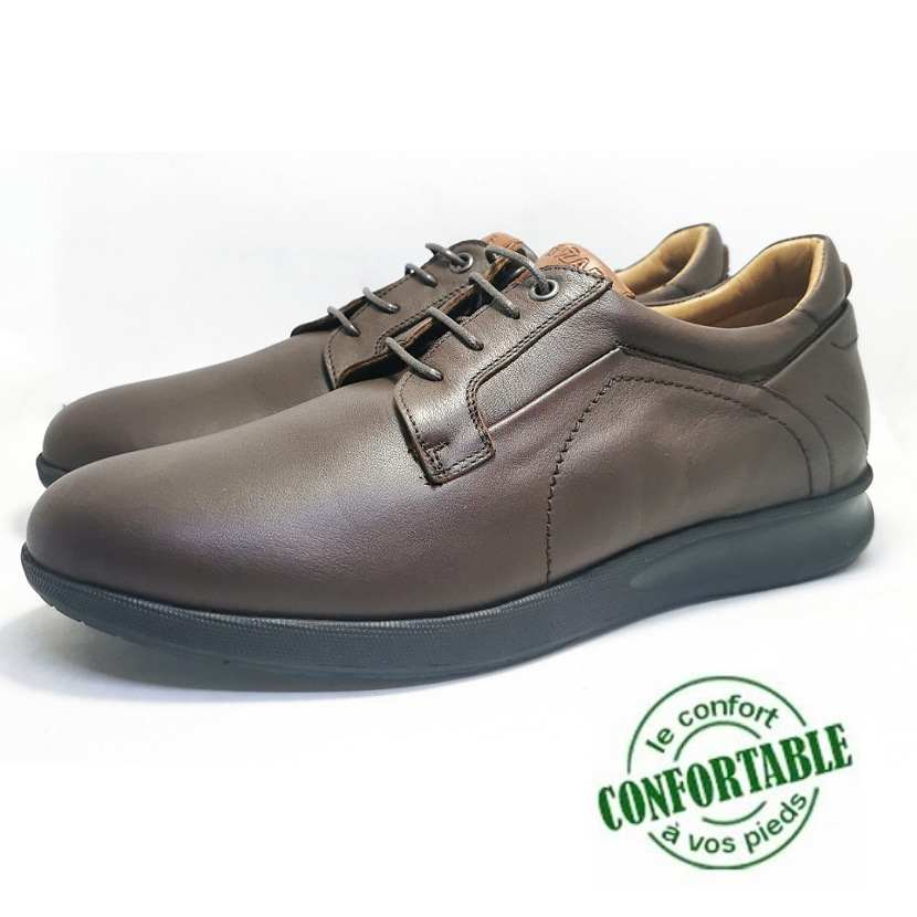 Chaussure médicale confort WizRoll cuir marron