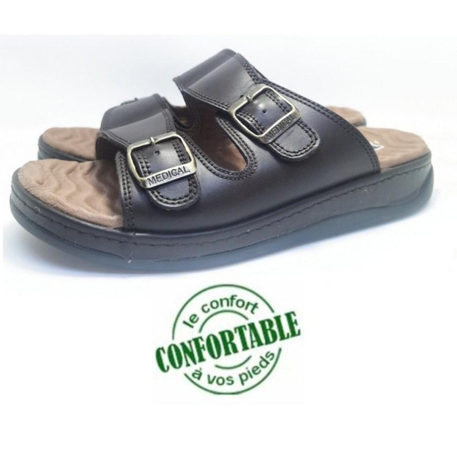 sandale médical MOLEX marron pour homme