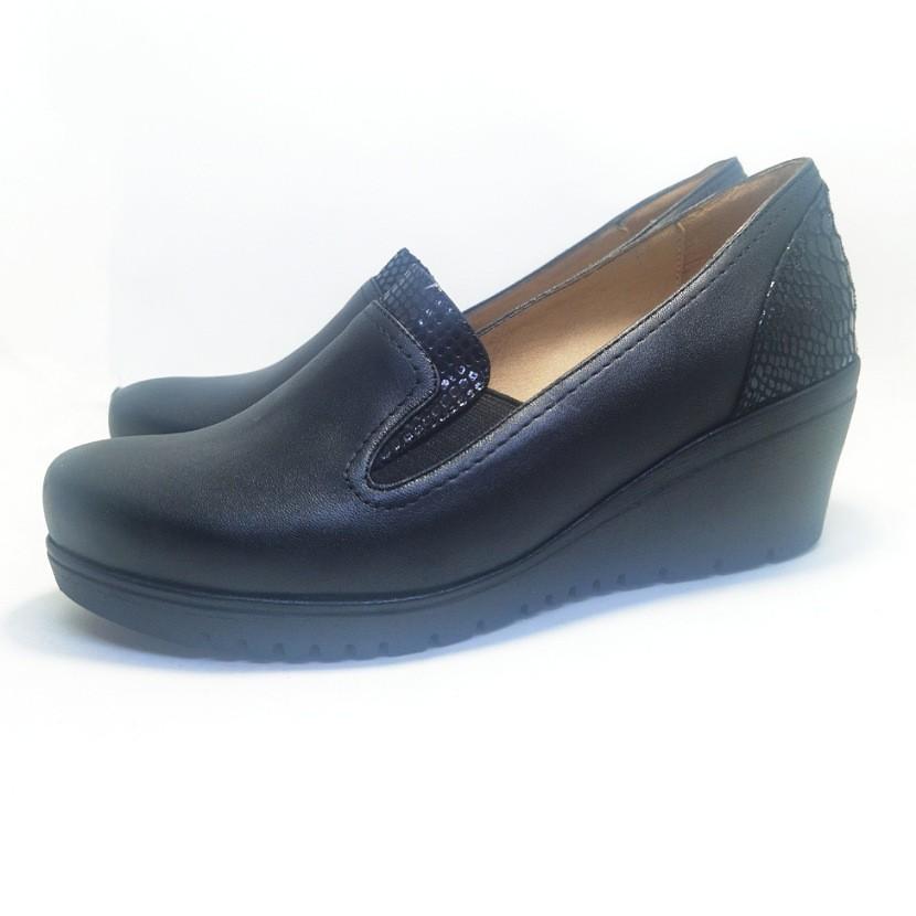 Chaussure femme Compensée pour femme CROCM couleur noir