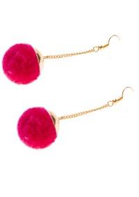 Fuschia Pom Pom Earrings - Happiness Boutique