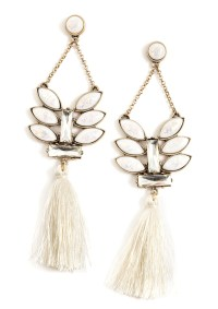 Tassel Statement Earrings White - Happiness Boutique