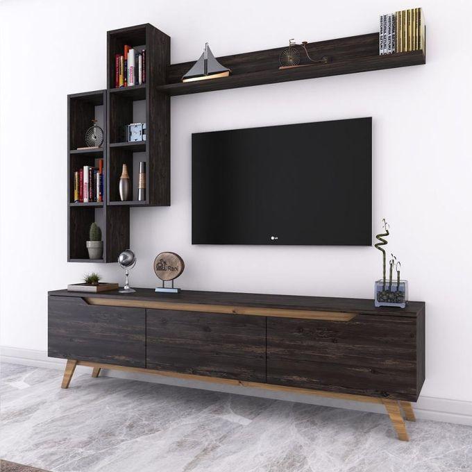 meuble tv avec bibliotheque meuble tv mural en bois avec meuble noyer noir m16